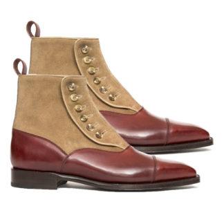 Handmade-Two-Tone-Boots-Men-ankle-Boots-Men-Burgundy-Tan-Button-Boots-Men