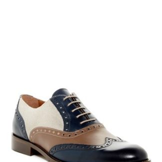 Men's Two Tone Wingtips Oxfords Perforated Lace Up Dress Shoes