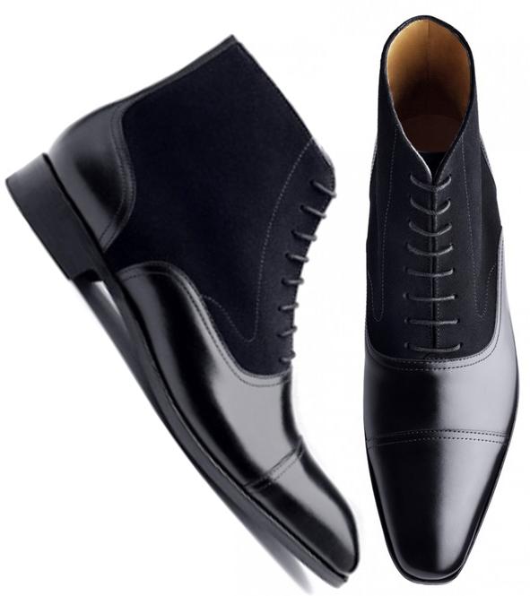 Handmade Black Leather Boots, Mens